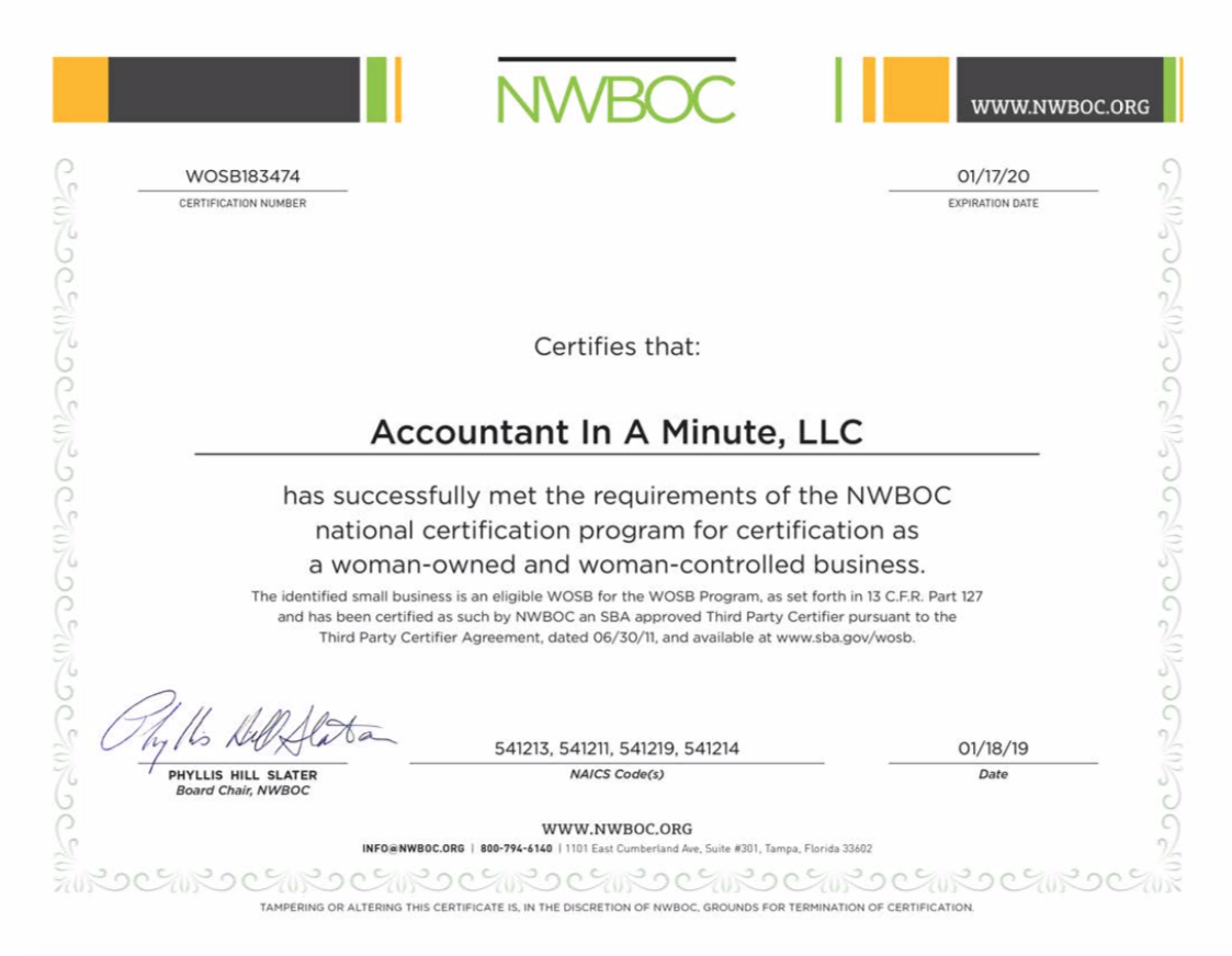 Accountant In A Minute - Woman-Owned Small Business (WOSB/WBE)