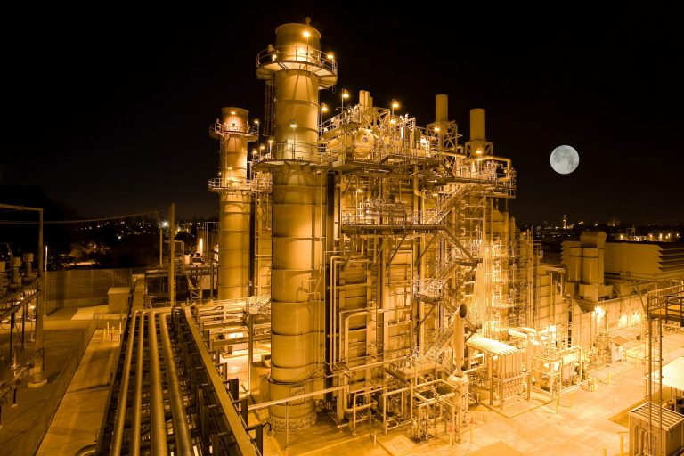 Two combined cycle gas turbines at a power plant